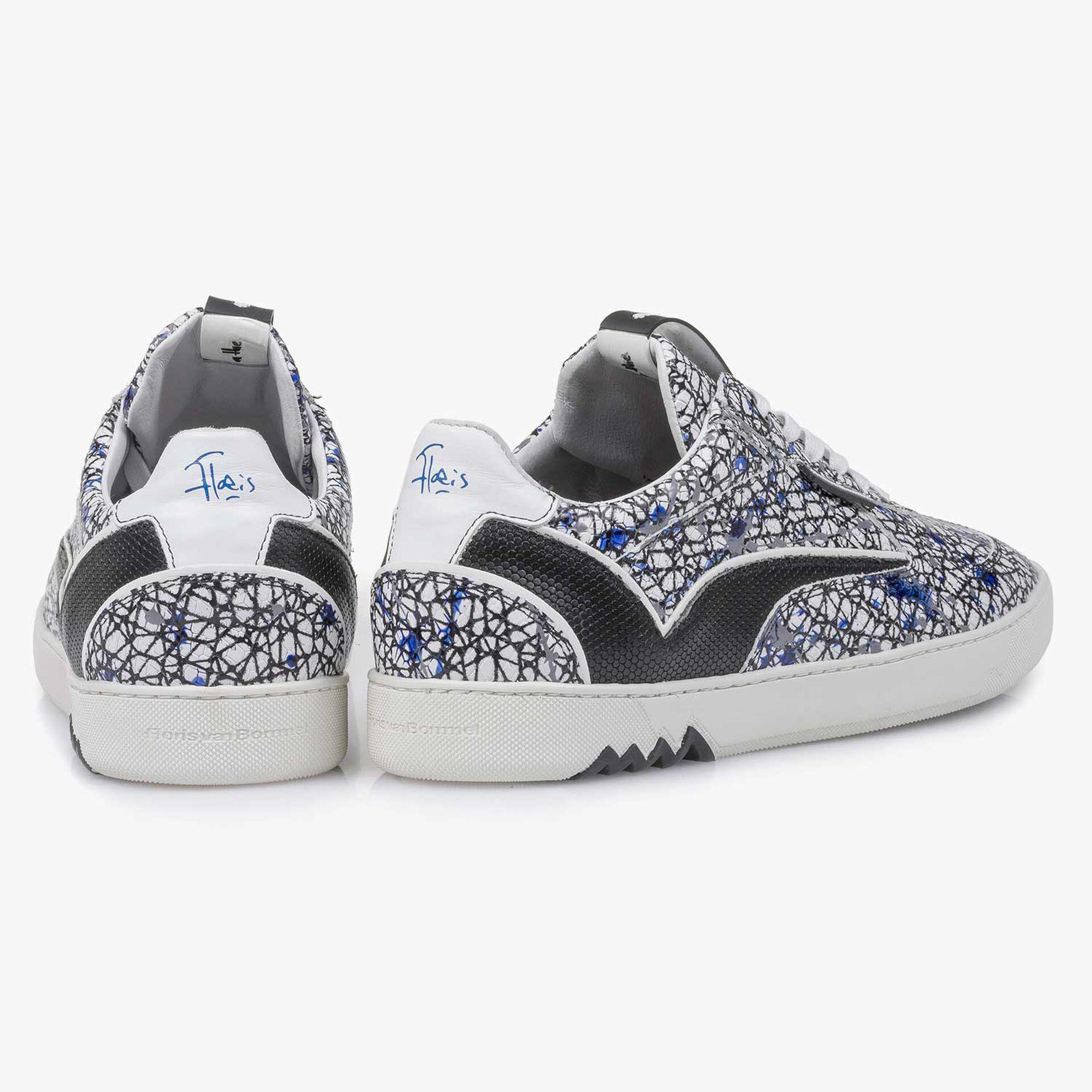 Weißer Kalbsleder-Sneaker mit Muster