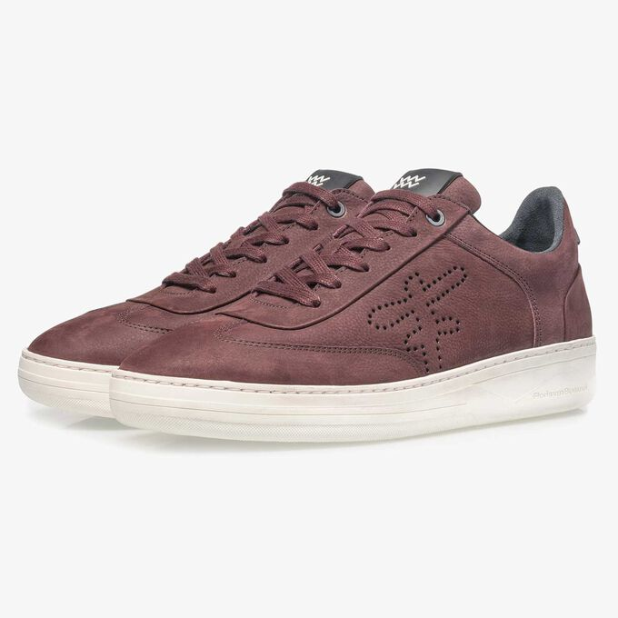 Red printed nubuck leather sneaker