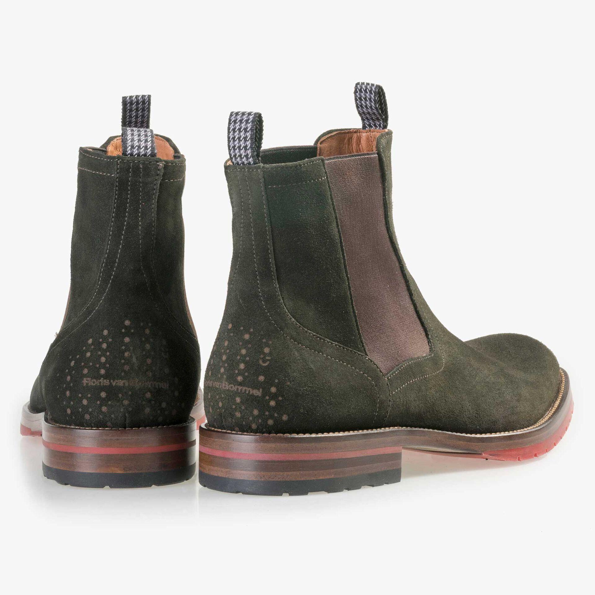 Floris van Bommel men's olive green suede leather Chelsea boot