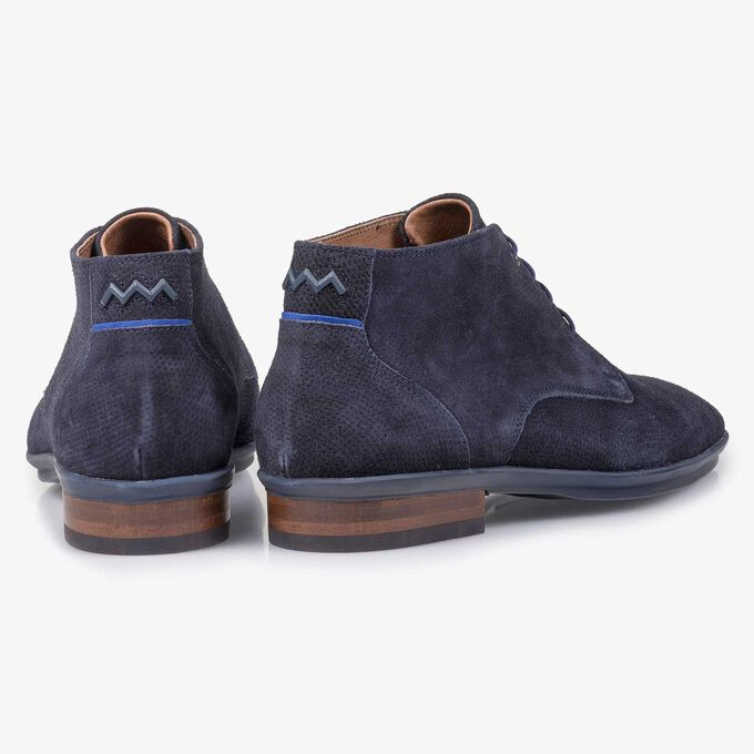 Blue suede leather lace shoe