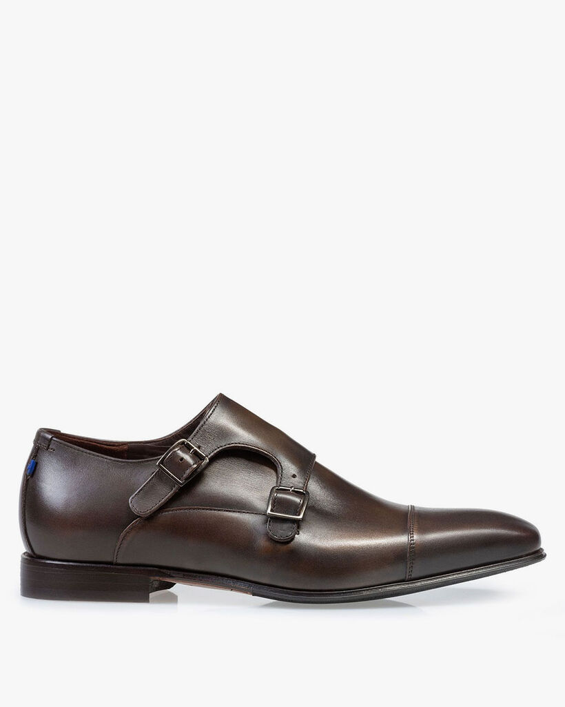 Monk strap calf leather brown