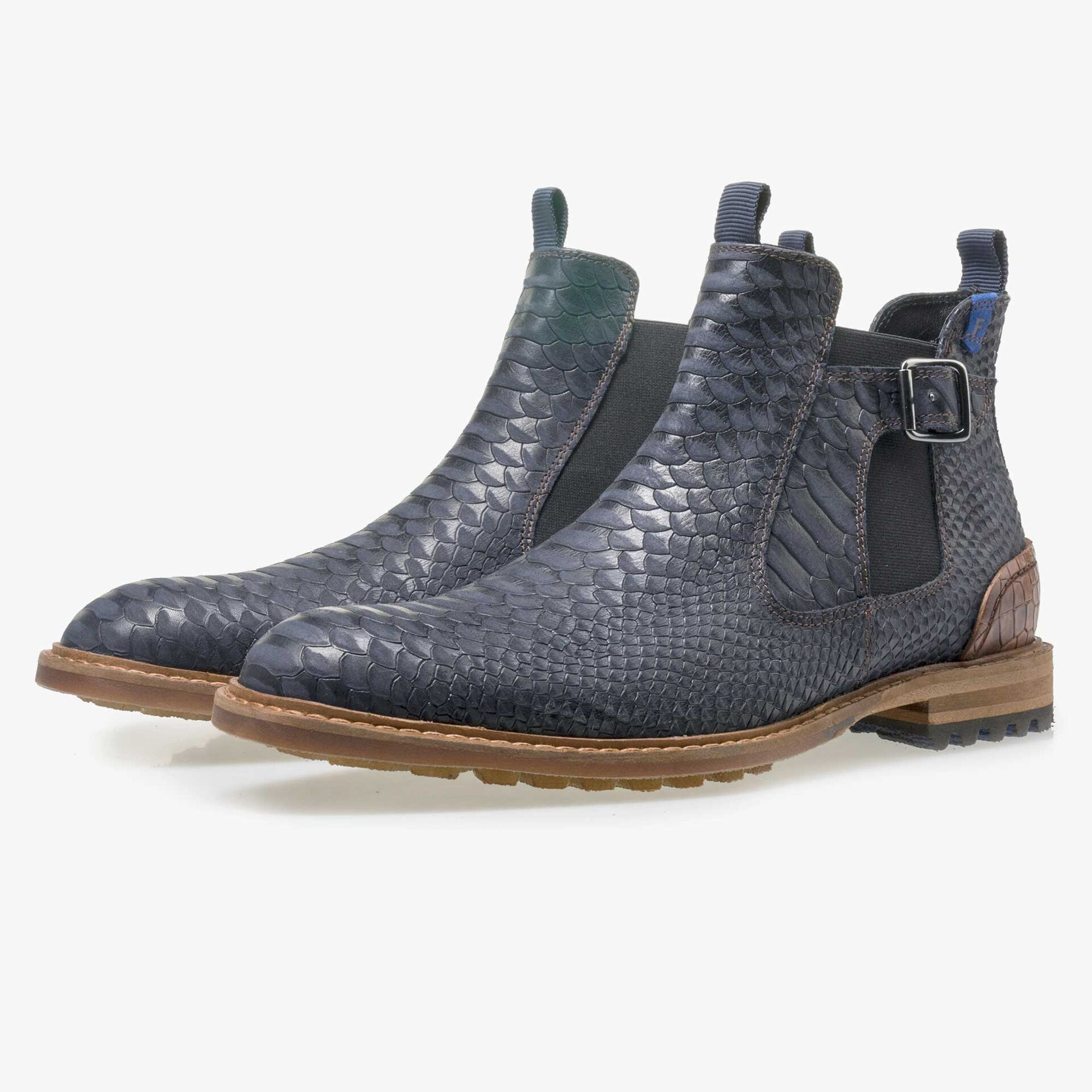 Floris van Bommel men's dark blue leather Chelsea boot