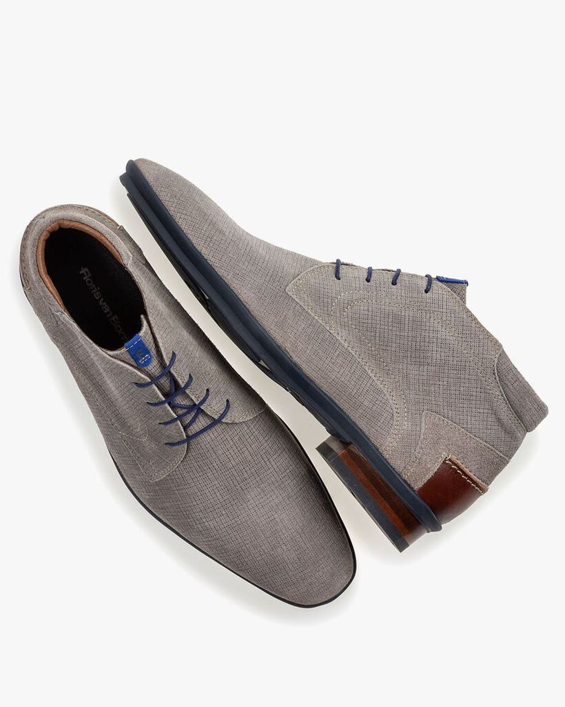 Stiefel mit Print Wildleder grau
