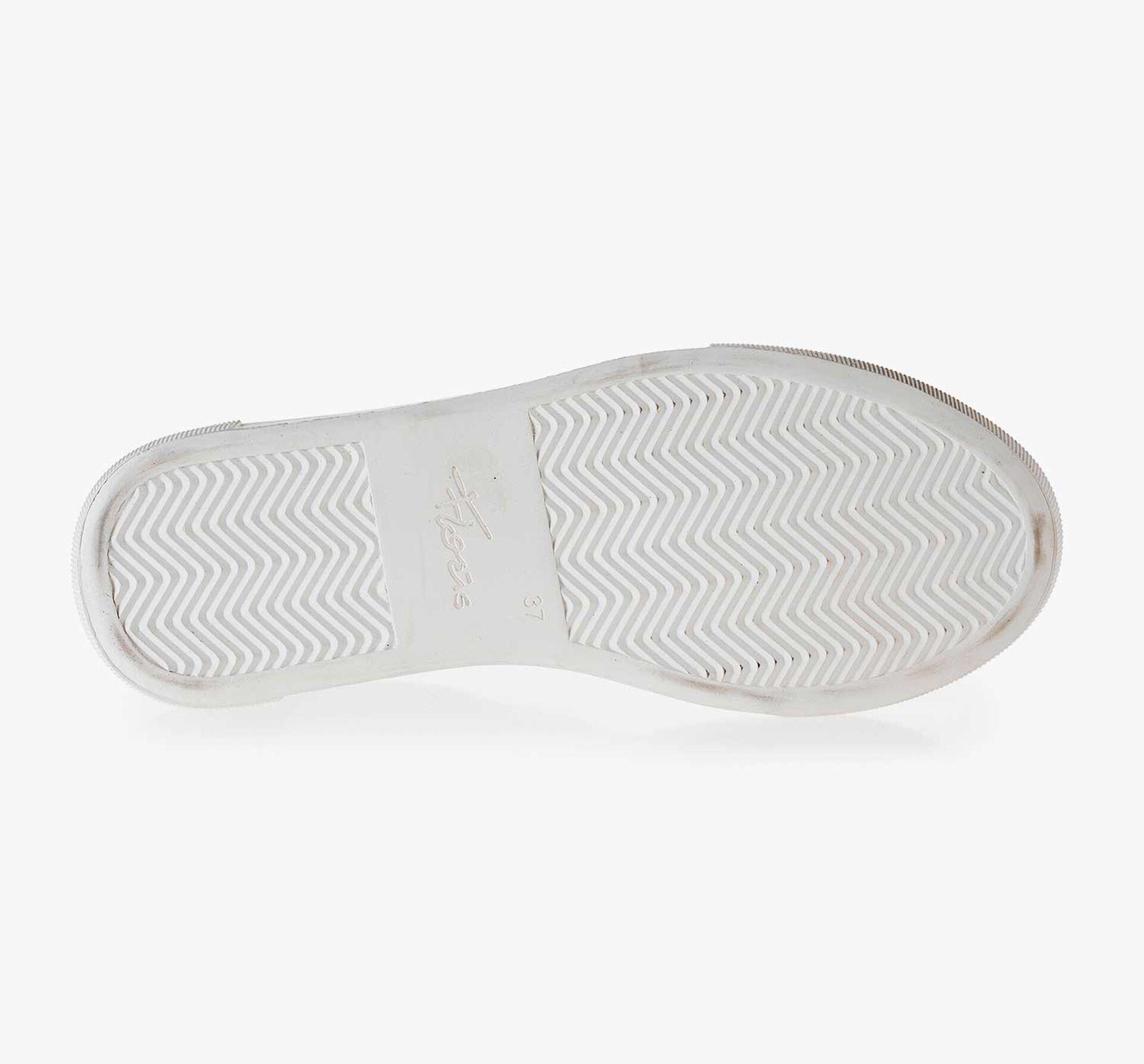 Weißer gemusterter Leder Sneaker