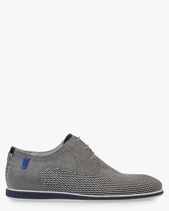 Lace shoe grey suede leather