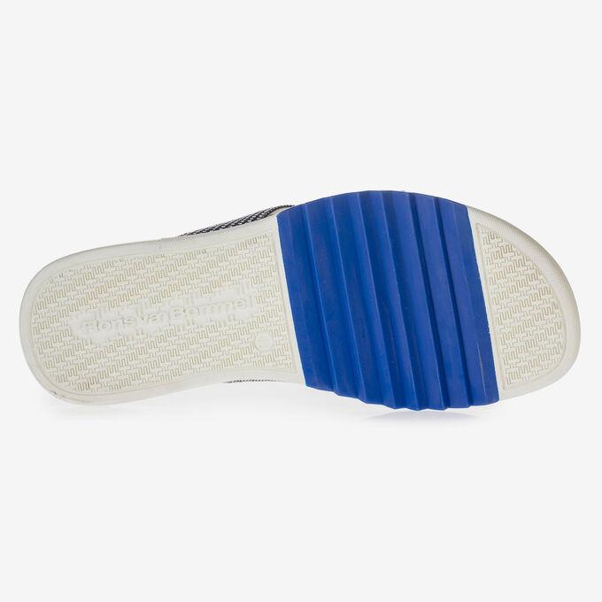 Blauer Wildleder Zehentrenner-Slipper mit Print