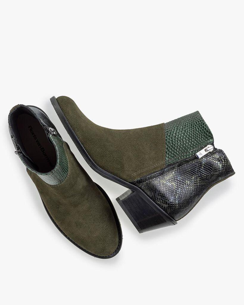 Stiefelette Wildleder-Print grün