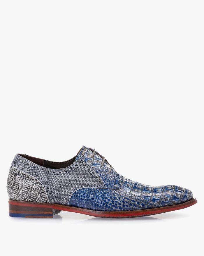 Schnürschuh Leder mit Print blau