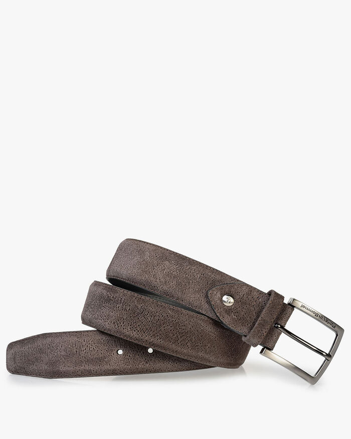 Suede leather belt dark brown with print