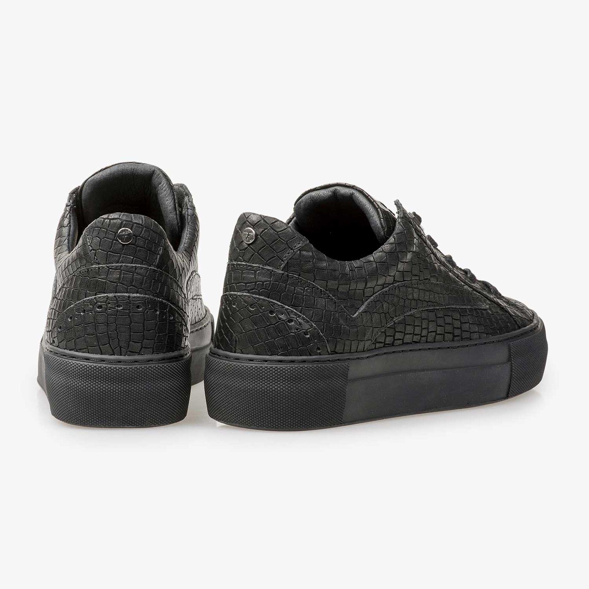 Schwarzer Leder-Sneaker mit Krokoprint