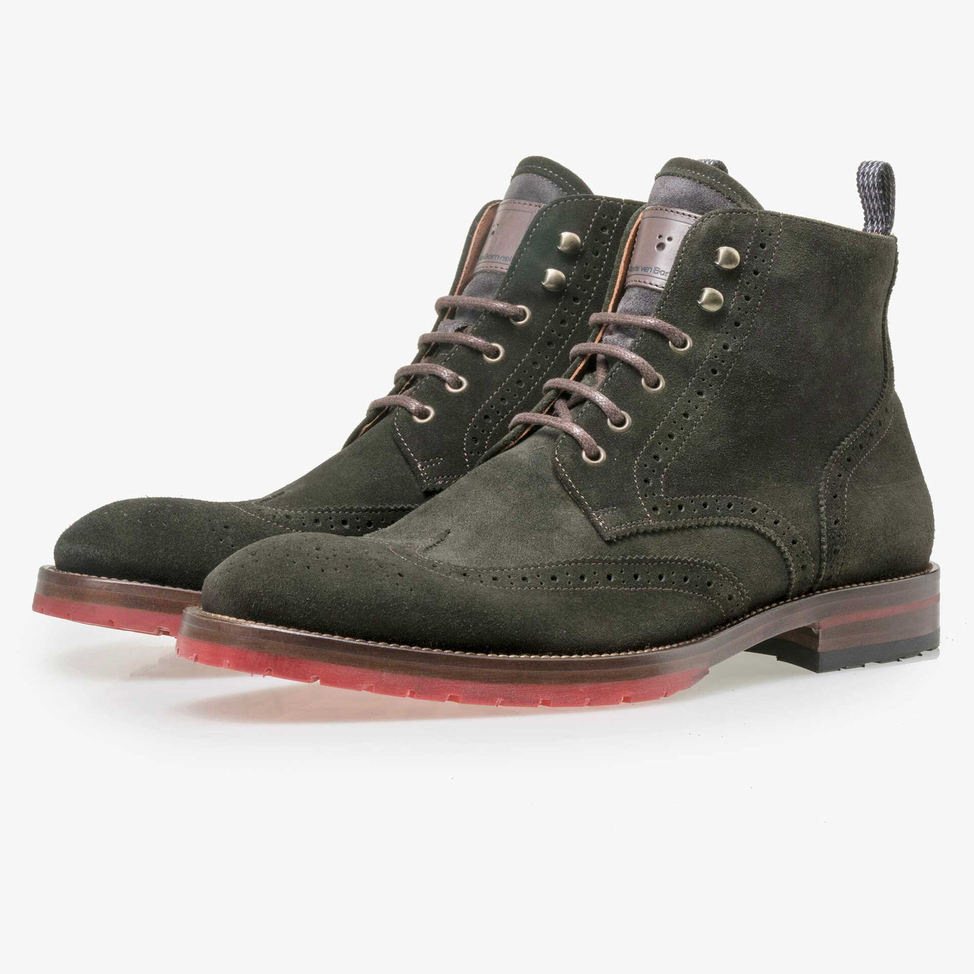 Floris van Bommel men's olive green suede leather brogue lace boot