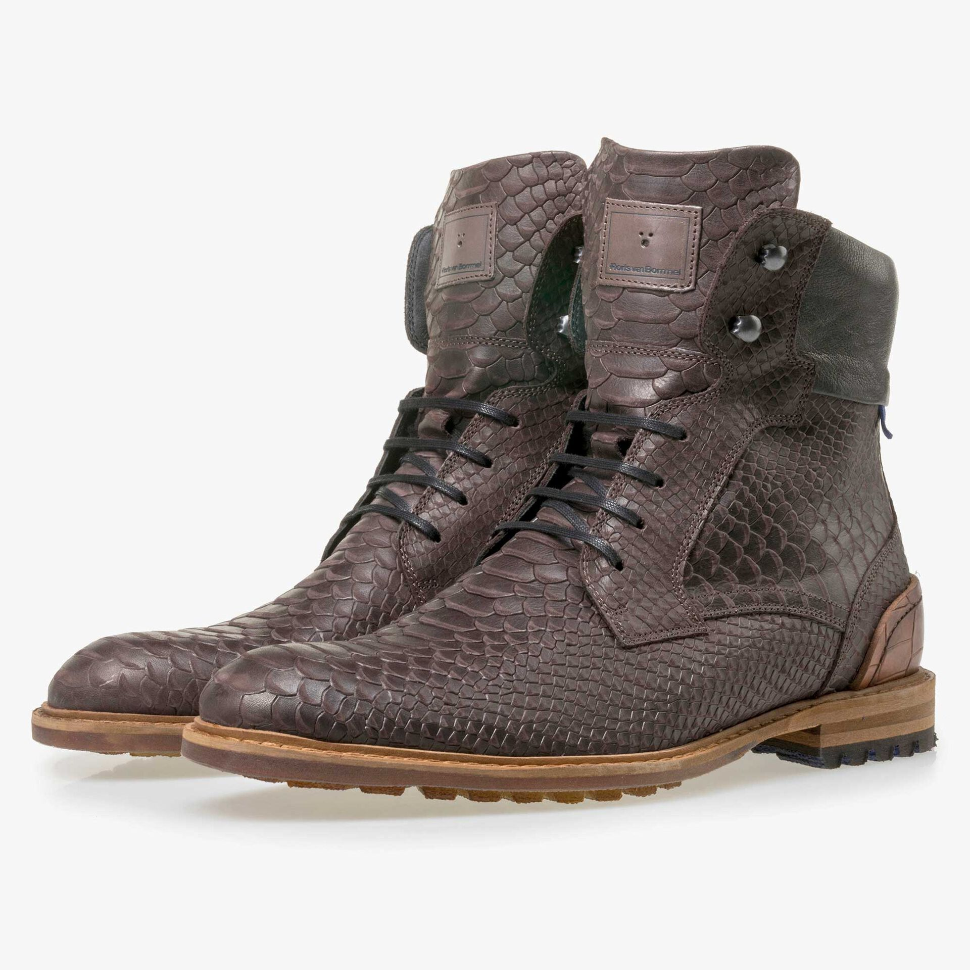 Floris van Bommel men's high, brown leather lace boot finished with a snake print
