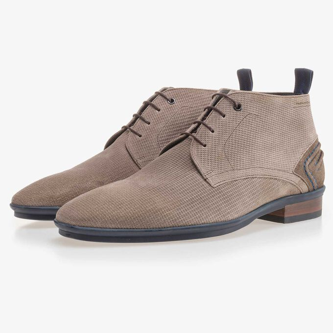 Taupe-coloured, suede leather lace boot with pattern