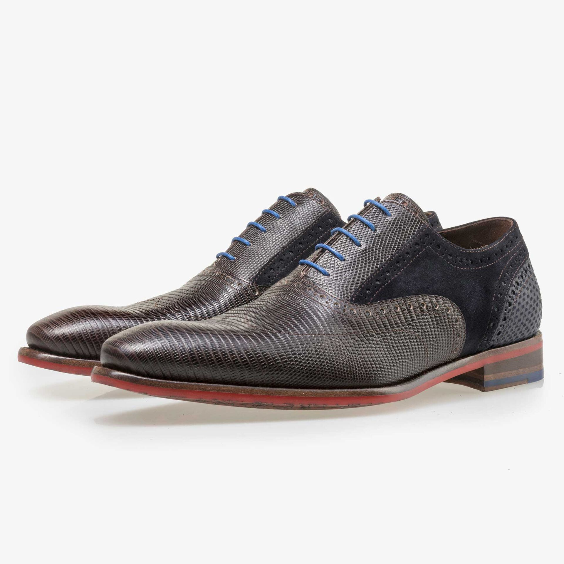 Floris van Bommel men's dark brown leather lace shoe