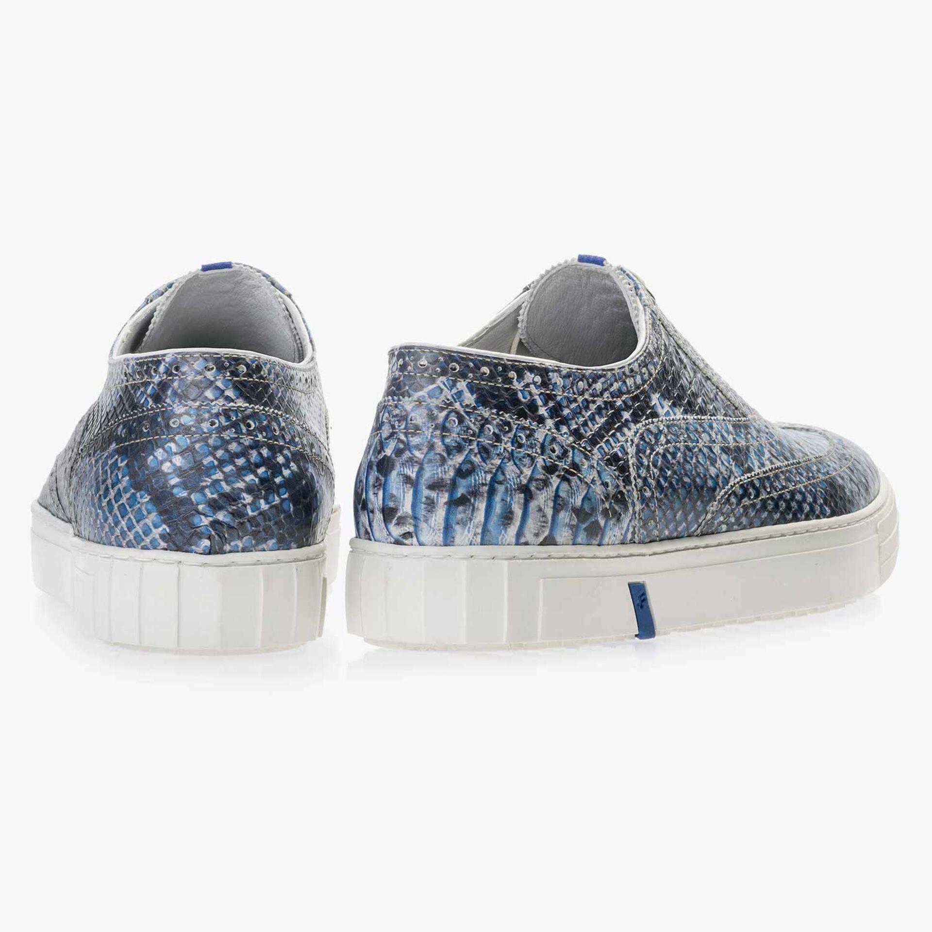 Blauer Brogue Leder Sneaker mit Schlangenprint