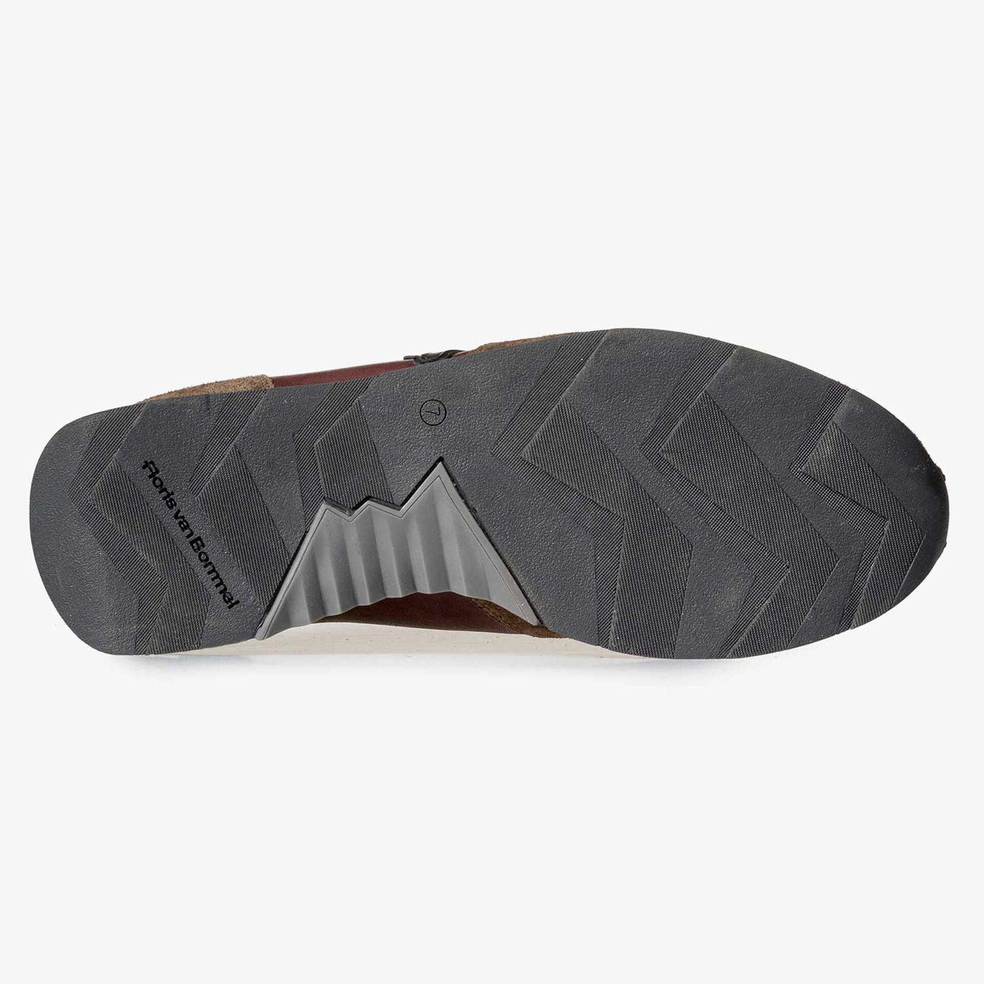 Brauner Leder Sneaker mit umrahmtem F-Logo
