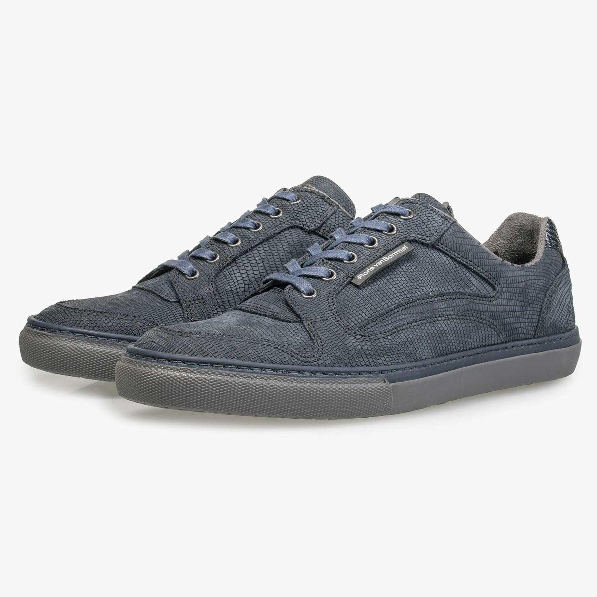 Blauer, gemusterter Nubukleder-Sneaker