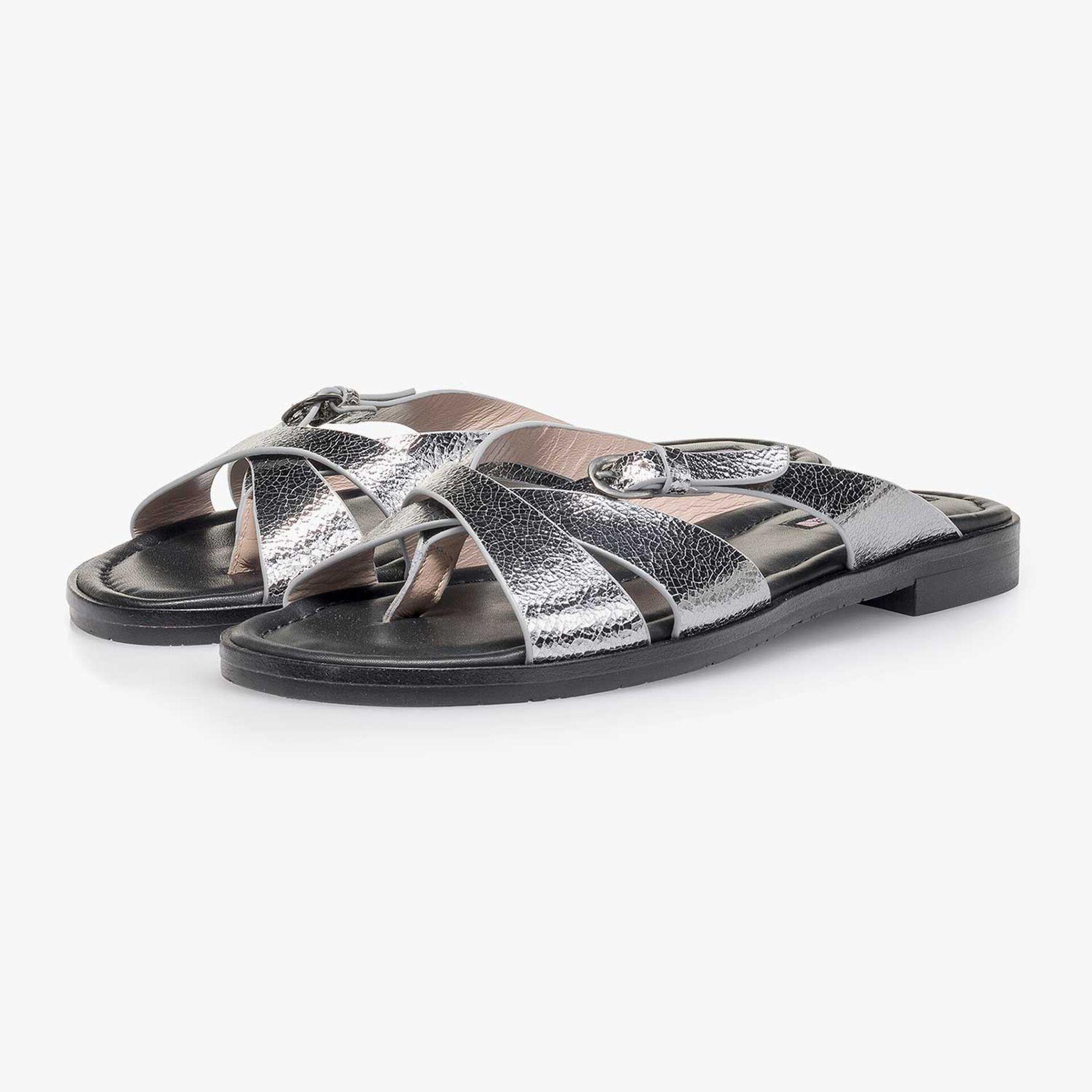 Silber Metallic Leder-Slipper mit Craquelé-Effekt