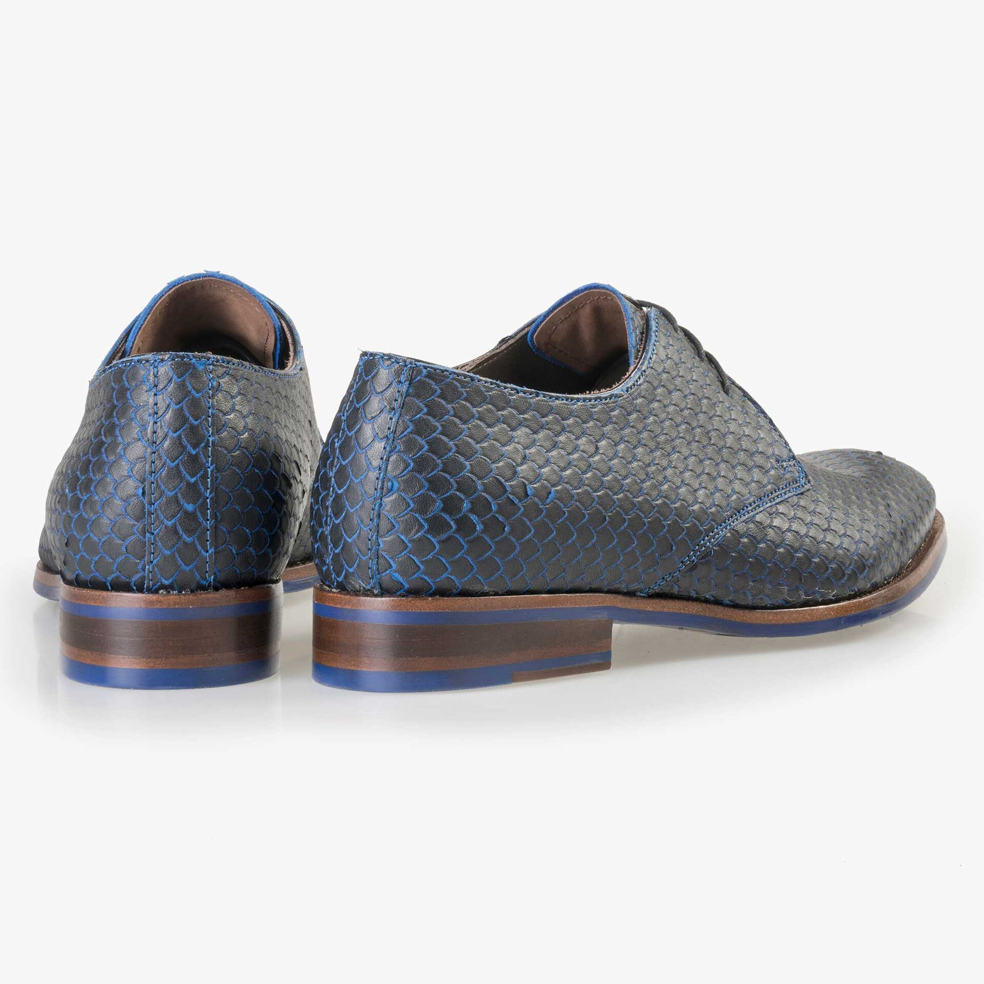 Floris van Bommel Premium blue leather lace shoe