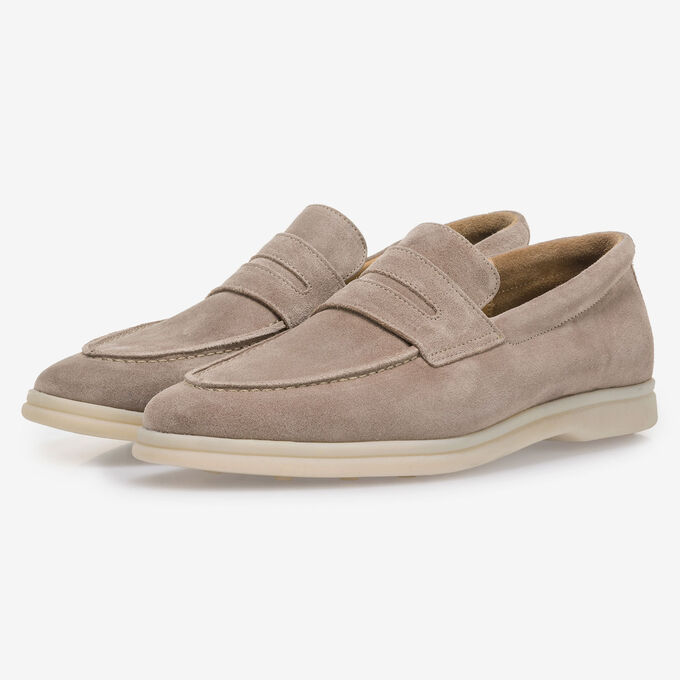 Beige suede leather loafer