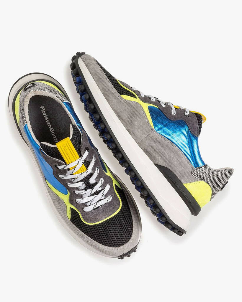 Multi-colour sneaker with yellow and blue details