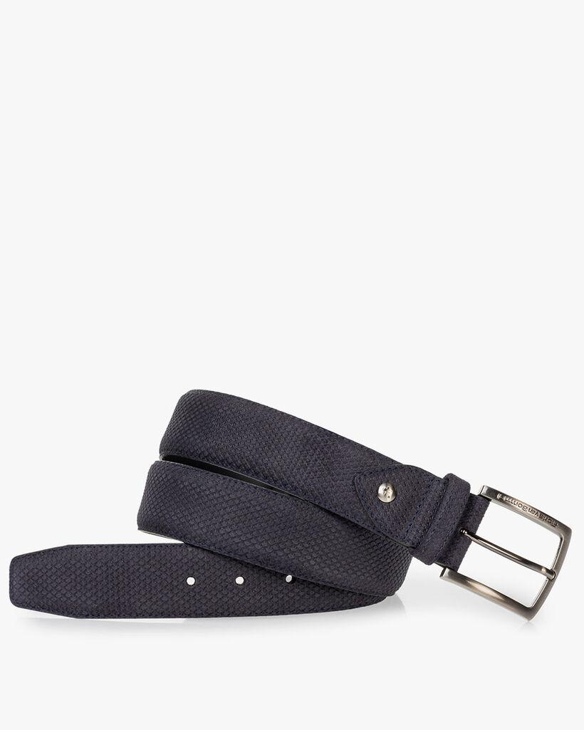 Belt printed leather dark blue