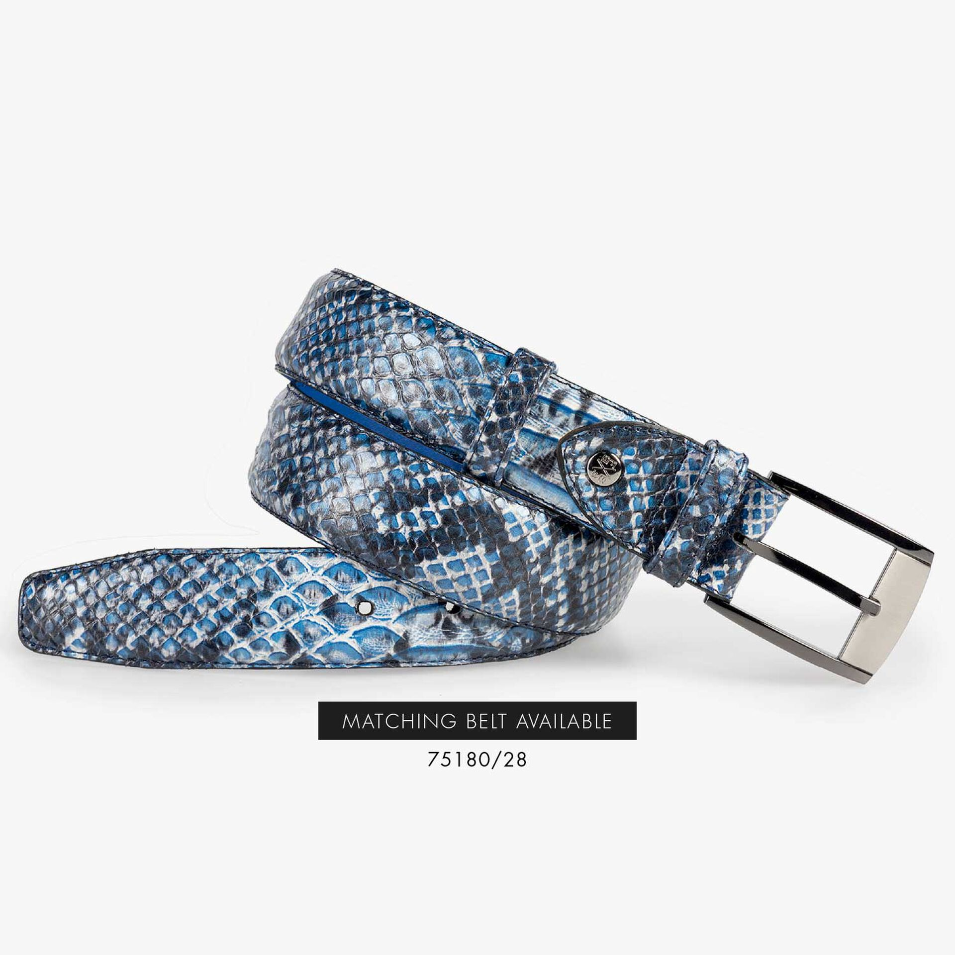Blauer Schnürschuh aus Leder mit Schlangenprint