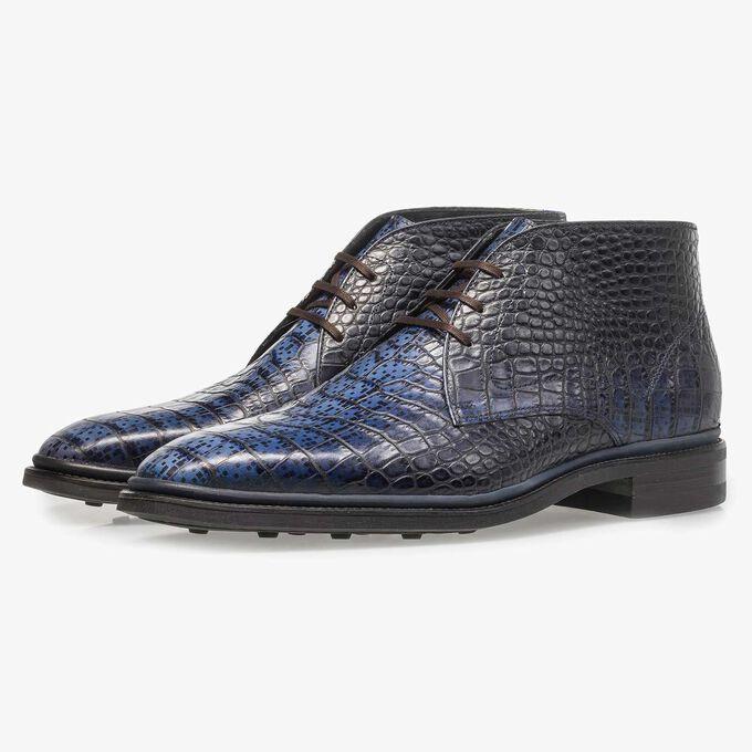 Blauer Premium Krokoleder-Schnürschuh