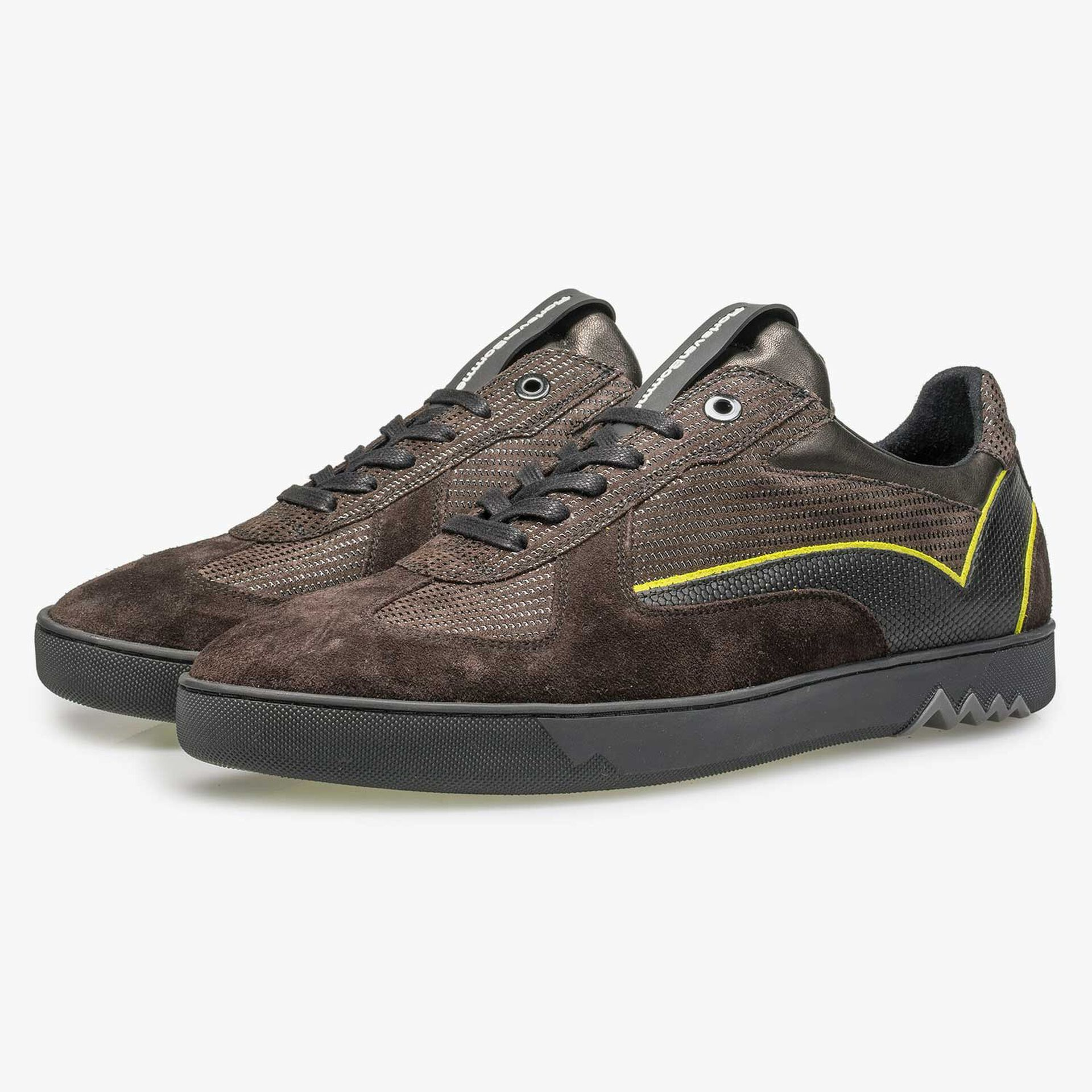Dark brown suede sneaker with pattern