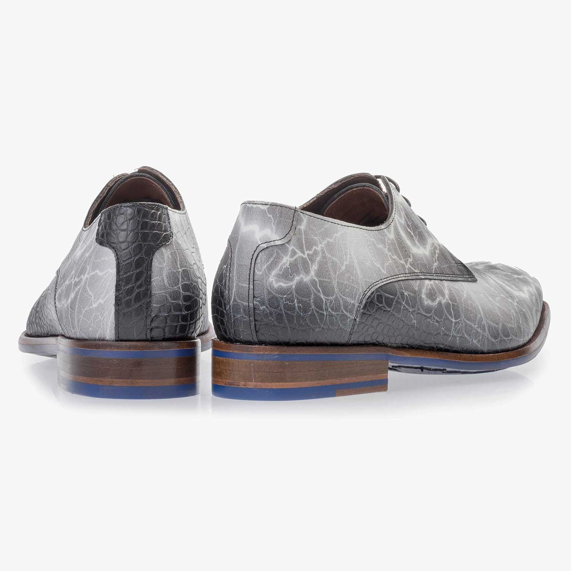 Premium grey printed leather lace shoe