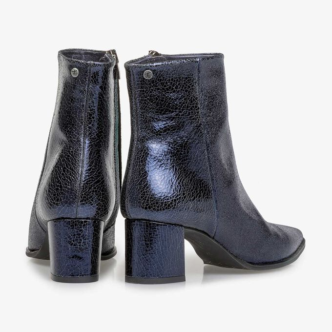 Dark blue leather ankle boots with metallic print
