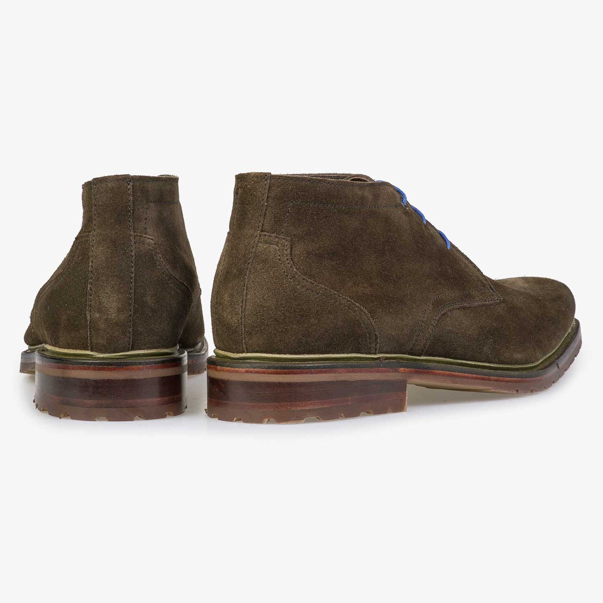 Brown/olive green calf suede leather lace boot