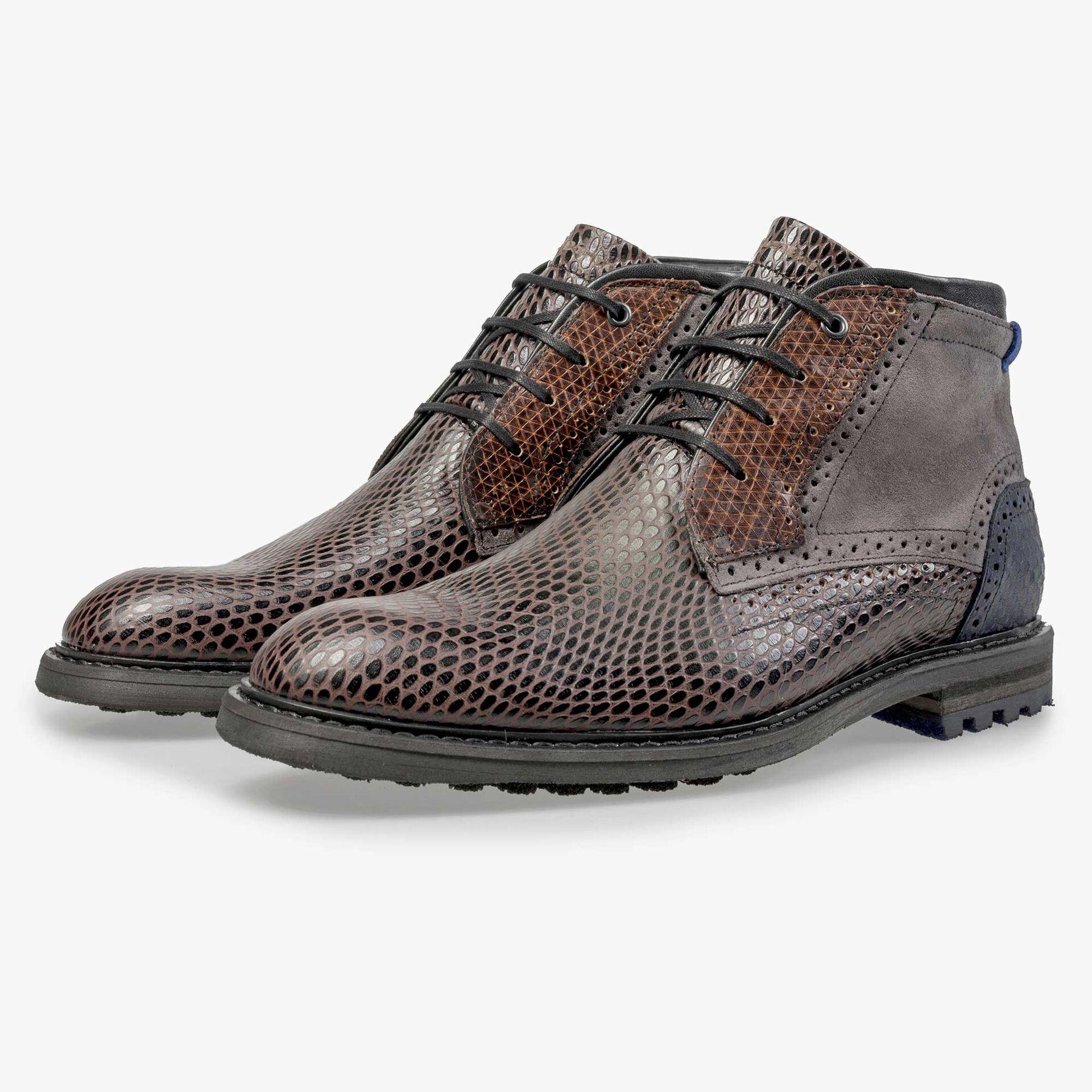 Floris van Bommel men's dark brown printed leather lace boot