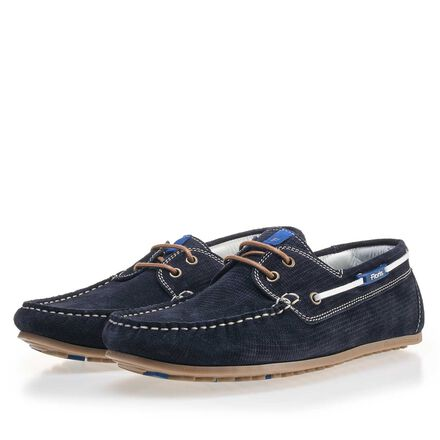 Patterned suede leather boat shoe