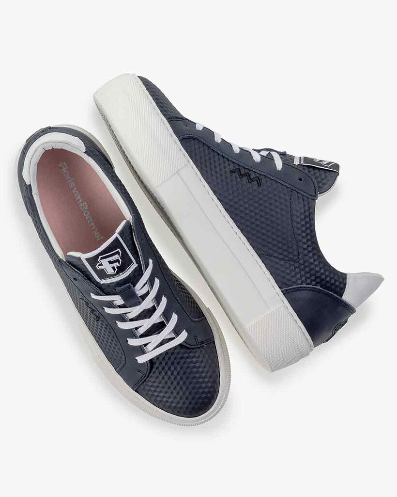Sneaker Leder-Print blau