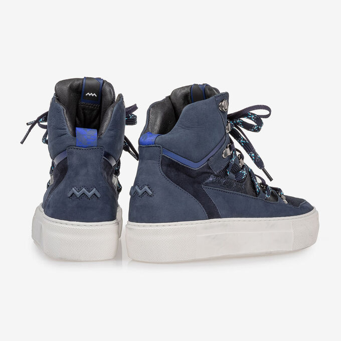 Mid-high sneaker nubuck leather blue