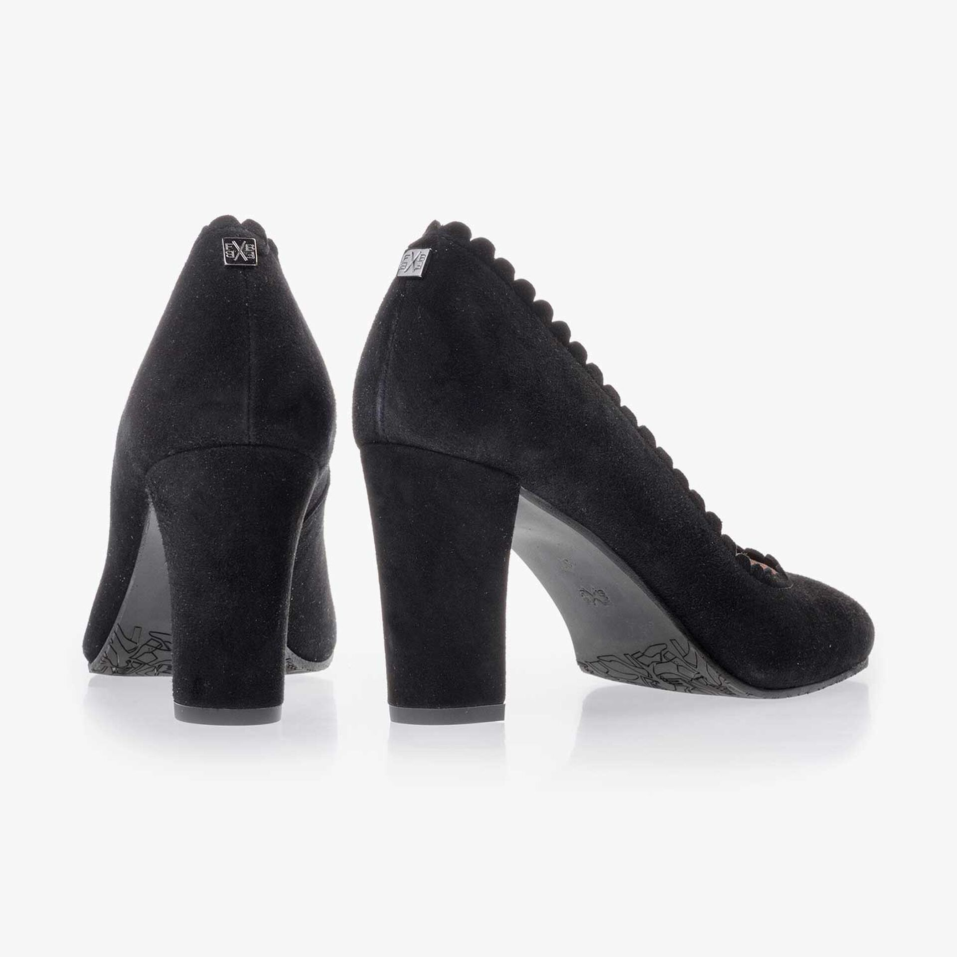 Black calf's suede leather pumps