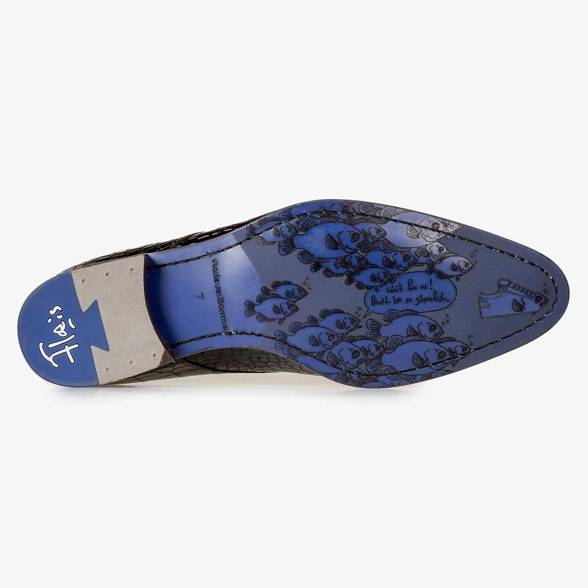 Kalbsleder-Schnürschuh mit Kroko-Print