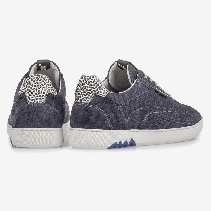 Blauer Wildleder-Sneaker mit Print