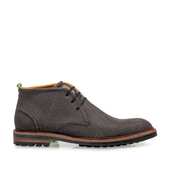 Lace boot printed leather dark grey