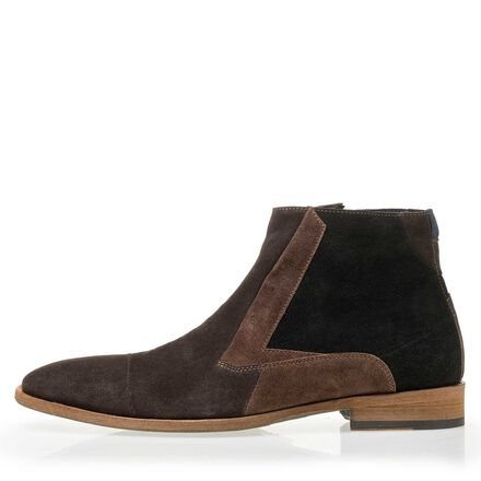 Floris van Bommel men's suede leather patchwork Chelsea boot