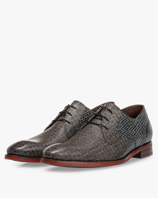 Lace shoe printed leather taupe