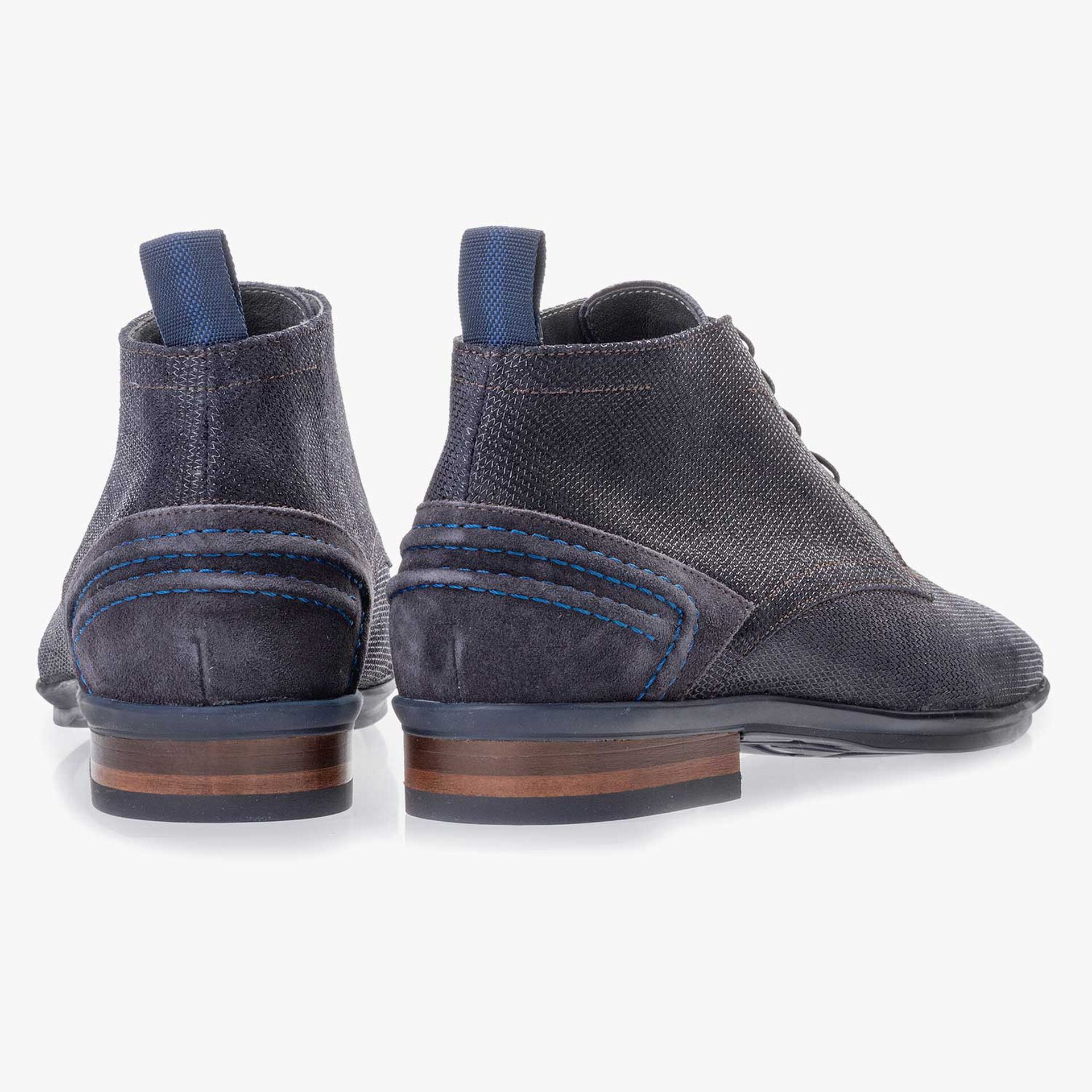 Blue suede leather lace boot
