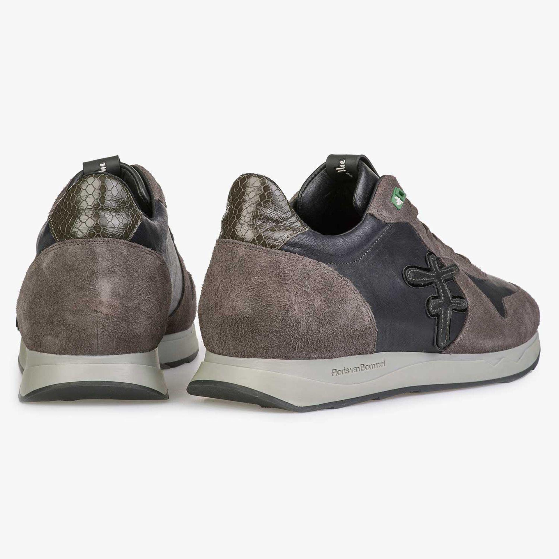 Blauer/ Graubrauner Leder Sneaker mit F-Logo