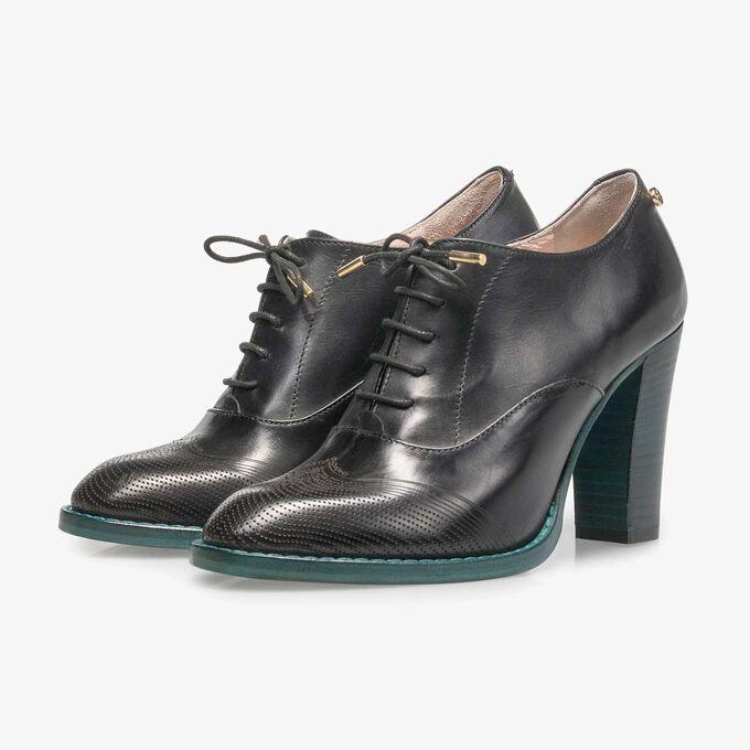 Black calf leather heeled derby
