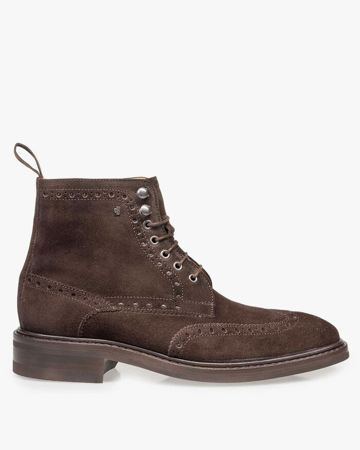 Boot suede leather brown