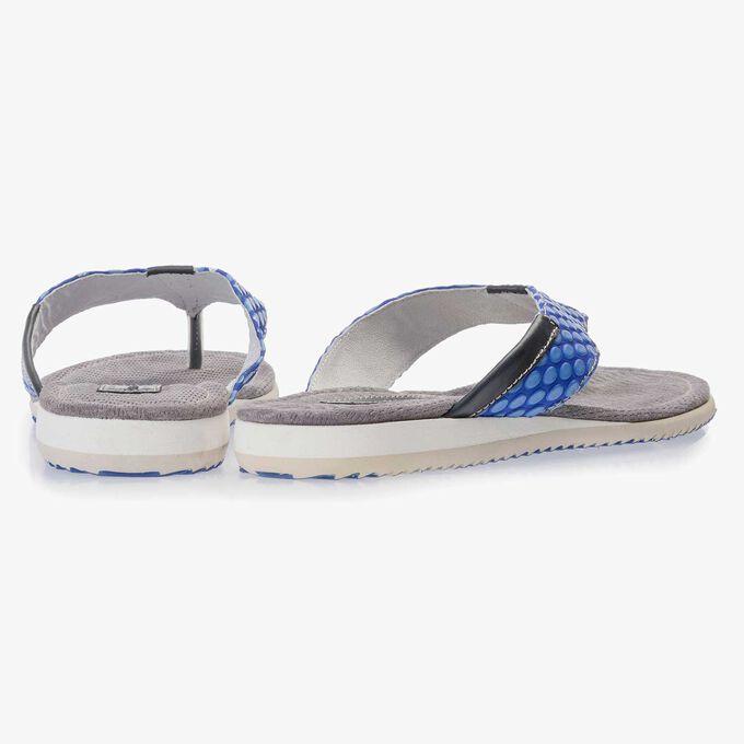 Cobalt clue, printed leather thong slipper