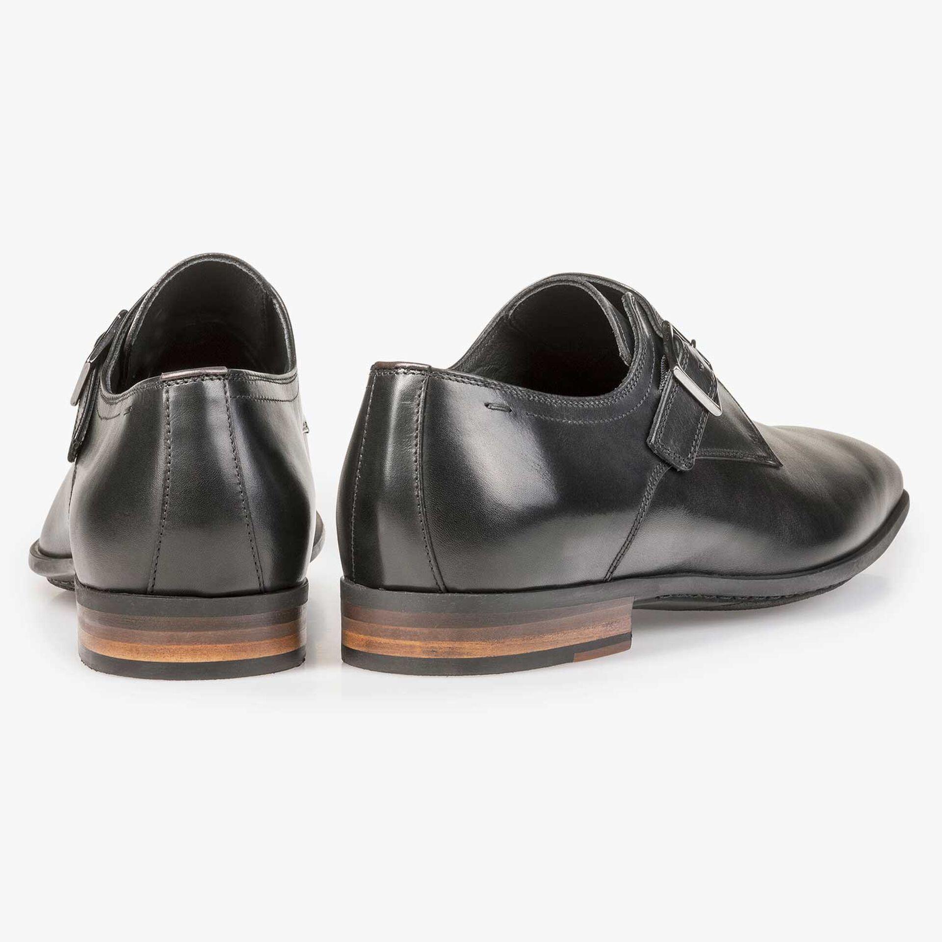 Black calf leather monk strap