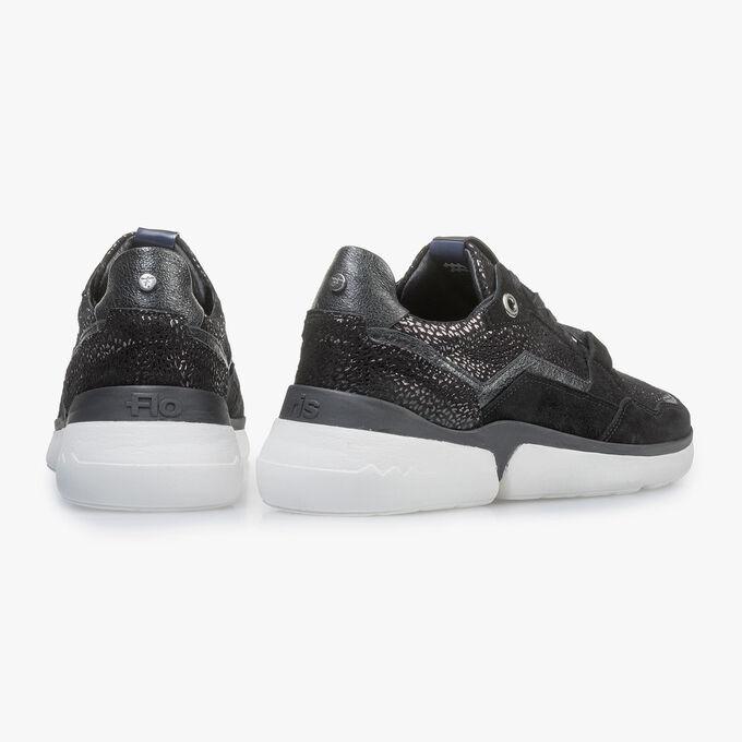 Schwarzer Wildleder-Sneaker mit Metallic-print