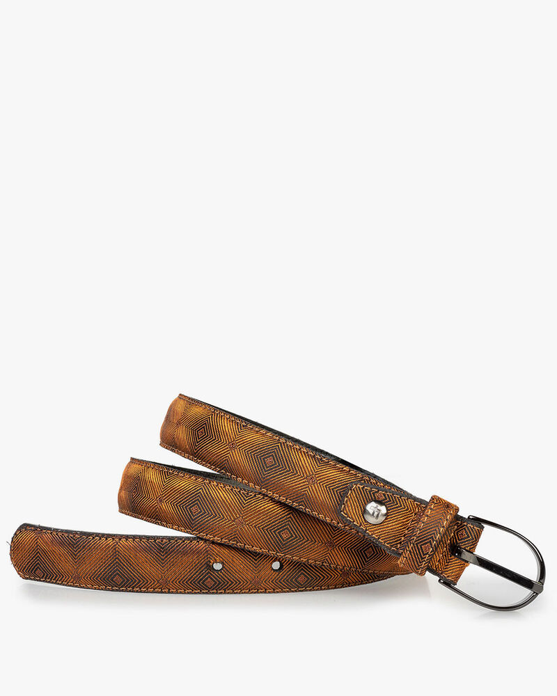 Women's belt brown textile with print